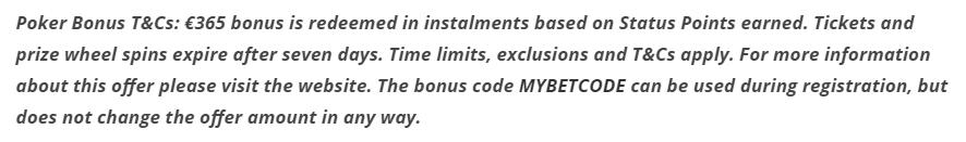 bet365 Bonus Code tnc poker