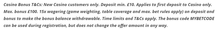 bet365 Bonus Code tnc Casino