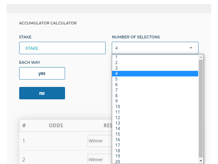 Accumulator Bet Calculator Selections MyBettingSites
