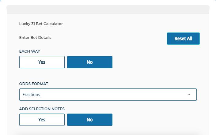 Lucky 31 Calculator each way odds format MyBettingSites
